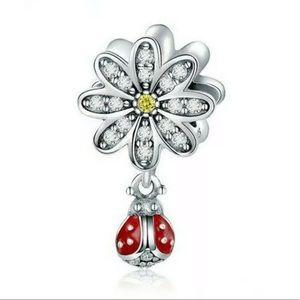 NEW•Silver Daisy w/CZ & ladybug dangle DIY charm